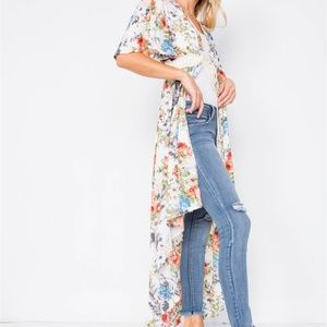 Floral Print High-low Kimono Cover-up